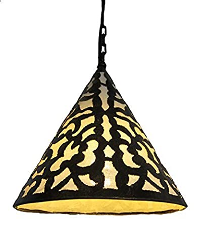 CONICAL Pendant lamp shade steel with floral cut out pattern Antique brass finish
