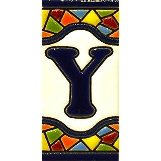 Schilder mit Zahlen und Nummern auf vielfarbiger Keramikkachel. Handgemalte Kordeltechnik fuer Schilder mit Namen, Adressen und Wegweisern. Persoenlich gestaltbarer Text. Design MOSAICO MINI 7,3 cm x 3,5 cm (BUCHSTABEN
