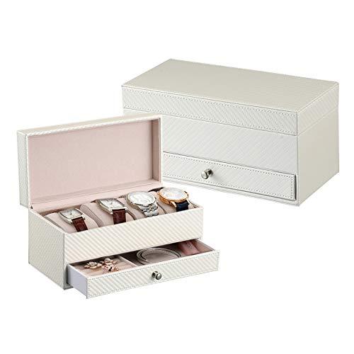 Zhengfei scatola per orologio grande vetrino 4 slot in fibra di carbonio con piano in vetro con contenitore per gioielli impermeabili (colore : bianco)