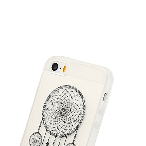 Coque iPhone 5S , TPU Etui Coque pour iPhone SE ,CaseLover Panda Motif Mode Etui Coque TPU Slim pour Apple iPhone 5 / 5S / SE Mode Flexible Souple Soft Case Couverture Housse Protection Anti Rayures M Attrapeur de rêves