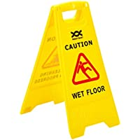 2WORK PS123-WET–Señal de seguridad de precaución por suelo mojado y limpieza en curso, amarillo