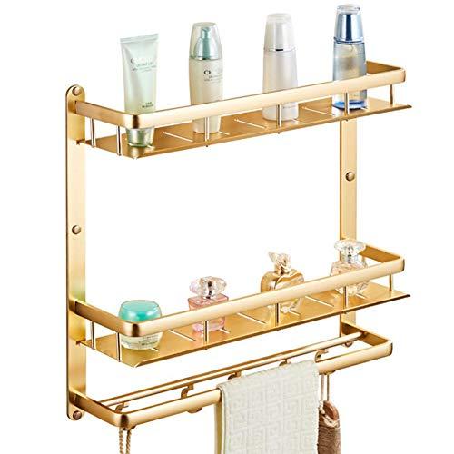 F.a.n.g.yun mensola bagno free punzonatura doppio strato spazio in alluminio bagno storage rack antico titanio oro