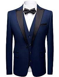 Sliktaa Costume Homme 3 Pièces Formel Slim Fit Classique Smoking de Mariage Business Bal Veste Gilet et Pantalon en 5 Couleurs
