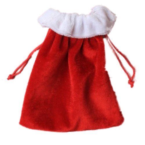 Medium Christmas Festive Red and White Velvet Gift Bag Xmas Gifts