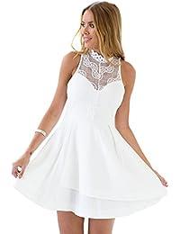Lookbook Store® Damen Weißes Ärmelloses Spitzenkleid mit Reißverschluss Spitzendetails Einfarbig