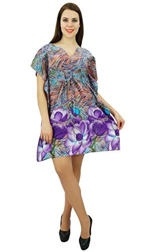 Phagun Coton Caftan Bohème Abstraite Robe Caftan Imprimée Courte Maxi Nightwear Multicolore
