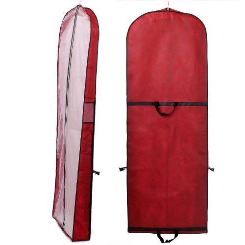 Atmungsaktiver Kleidersack Schutzhülle für Brautkleider / Abendkleider / Anzüge / Mäntel - ca. 180 cm - Reissverschluss - Zwei Taschen für Zubehörteile - KXB-101 Dunkelrot 101 Tasche