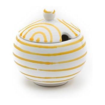 10 cm Gelbgeflammt Geschirr handgemacht in /Österreich GMUNDNER KERAMIK Zuckerdose mit Ausschnitt Durchmesser