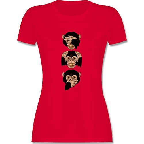 Statement Shirts Drei Affen Sanzaru tailliertes Premium TShirt mit  Rundhalsausschnitt für Damen Rot