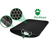 Barbieya Cat Litter Tray Mat with Honeycomb Structure, Waterproof Double Litter Tray, Food Mat, Honeycomb Design Cat Litter Tray (60 x 45 cm)