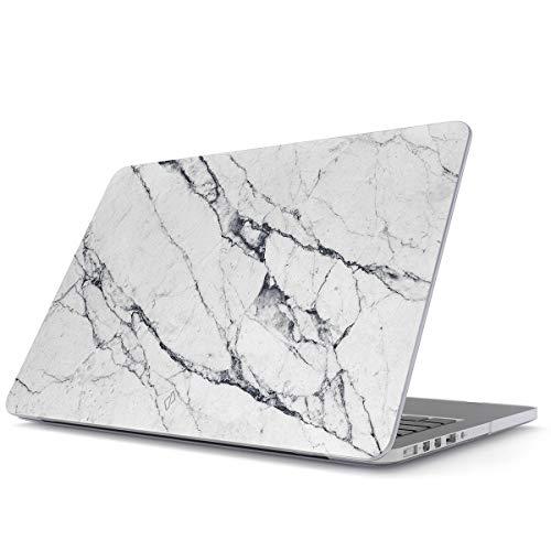 BURGA Hülle Kompatibel für MacBook Pro 15 Zoll Aus Den Jahren 2016/2017/2018, Modell: A1990 / A1707 mit Touch-Bar Licht Weiß Marmor Muster White Marble Plastik Case - Apple White Case Macbook