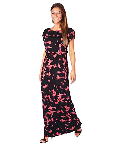 5081-COR-10: Bodenlanges Jersey Sommerkleid (Koralle, Gr.38 /  Herstellergröße 10)