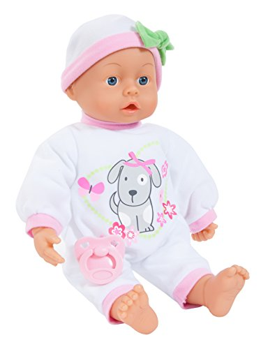 Bayer Design - Muñeca bebé 38 cm, First Words Baby, con ojos móviles, chupete y botellín, color blanco (93863AI)