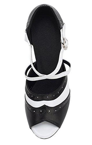 TDA , Peep-Toe femme 7.5cm Heel Black White