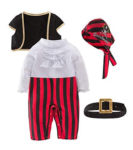 Le SSara 2019 Jahr Baby Jungen Mädchen Piratenkostüm 4 stücke Sets Strampler mit Weste und Kappe und Gürtel für Weihnachten