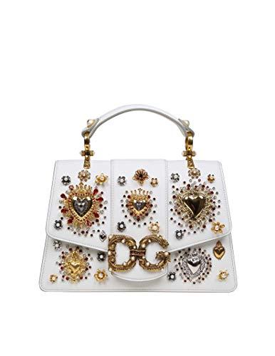 Dolce E Gabbana Borsa A Mano Donna Bb6675ak28480002 Pelle Bianco