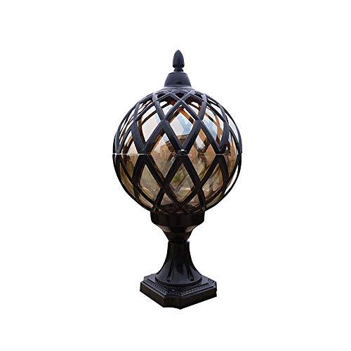 XGFYW Pfeilerlampe Schwarz Kugel Design Laterne Retro E27 Gartenleuchte Aluminium Glas wasserdichte IP54 Außenlampe Säule Leuchte für Terrasse Garden Gemeinschaft Park,18 * 33CM