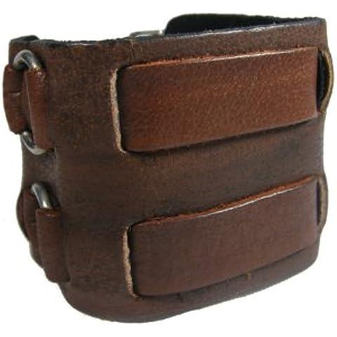 BrownBeans, 5,5 cm di larghezza, fibbie, colore: Marrone, Unisex Bracciale in pelle, bracciale LBCT4001) - Belt Buckle Fibbie