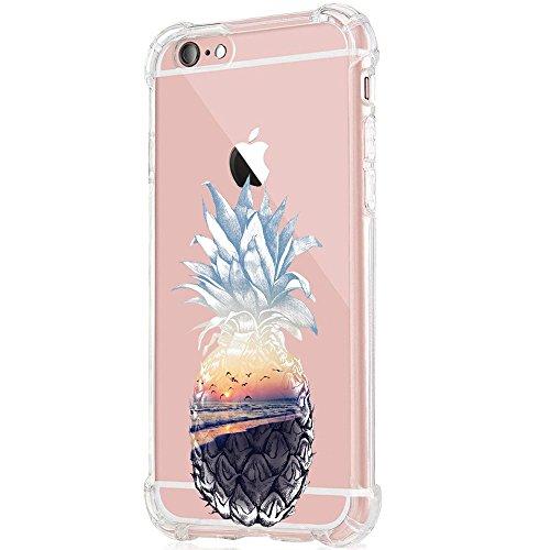 iPhone 6S/6S Plus Schutzhülle, Transparent TPU Silikon Bumper Protective Abdeckung Ultra Dünn Anti-Kratz Eckkollision Case für Apple iPhone 6/6 Plus - Flowers & Leaves (6/6S, 4)