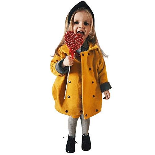 Vovotrade_abbigliamento a maniche lunghe di cotone a maniche lunghe per bambini, bambini ragazze inverno tinta unita mantello doppio petto cappotto con cappuccio spessa giacca caldo antivento