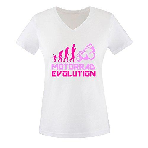 EZYshirt® Motorrad Evolution Damen V-Neck T-Shirt Weiss/Pink/Rosa