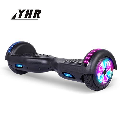 YHR 6,5-Zoll-Selbstausgleich-Roller, 2-Räder-Selbstausgleich-Hoverboard, Bluetooth-Lautsprecher-Hover-Board für Kinder und Erwachsene mit Tragetasche, UK-Ladegerät und LED (Schwarz)