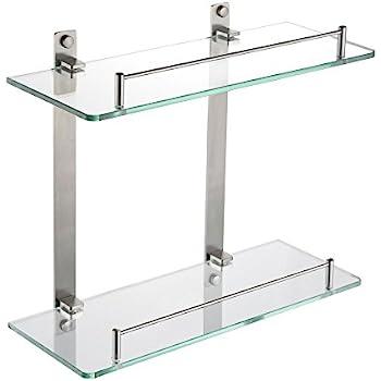 Wamvp Badregal Wandregal Regal für Bad aus Edelstahl mit 2 Glas ...