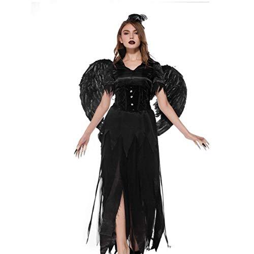 DUQA Halloween Erwachsene Hexe Schwarzer Engel Teufel Kost¨¹m Cosplay Hexe Kost¨¹m Charakter Kost¨¹m Halloween Kost¨¹m (Velvet Sexy Hexe Kostüm)
