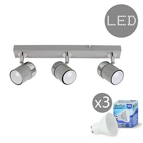 Led ceiling light bar amazon modern 3 way adjustable gloss grey silver chrome straight bar ceiling spotlight fitting complete with 5w led gu10 light bulbs 6500k cool white mozeypictures Image collections