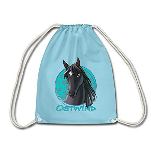 Spreadshirt Ostwind Pferd Porträt Turnbeutel, Aqua