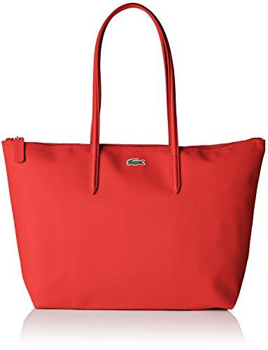 Lacoste Cabas Toile PVC, Sac Bandouliere Femme, Rouge (High Risk Red), 14x29.5x35 cm (W x H x L)