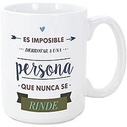 Tazas desayuno originales con frases motivadoras - Es imposible derrotar a una persona que nunca se rinde - 350 ml - Tazas con mensajes motivacionales
