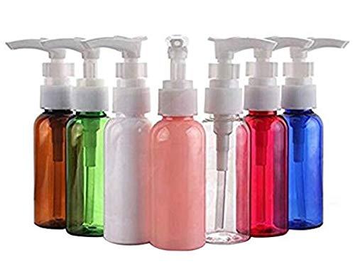 6 botes de plástico vacíos de 50 ml, sin BPA, multicolor, dispensador de botellas para jabón de loción, crema de jabón, ducha líquida, baño, cosméticos, bases de viaje
