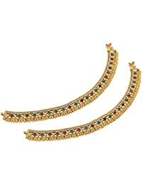 Gold Imitation Anklet/Payal With Red And Green Stones For Women (AXF421)