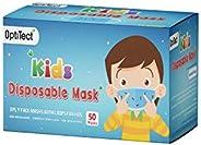 كمامة للاطفال للاستعمال مرة واحدة من أوبتيكت، ب3 طبقات مع حلقة للأذن للاولاد، 50 قطعة