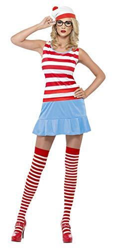 Wenda Kostüm - Where's Wenda? Süße-Kostüm Kleid mit Hut Brille und Strümpfen, Small