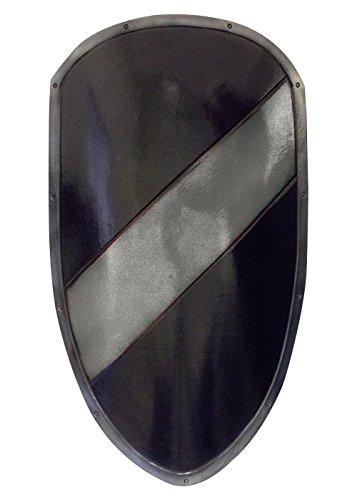 Mittelalterlicher RFB Großschild in schwarz/silber aus Schaumstoff Ritter Schild LARP (Mittelalterliche Soldaten Kostüme)