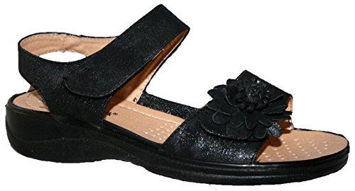 LADIES CUSHION WALK LIGHTWEIGHT SUMMER SANDAL WITH VELCRO STRAP (UK5, black matt)