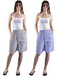 Gemmy Days (184STBLGYF Womens Cotton Half Pants Bermuda Casual wear/Yarn Dyed. Stripe Design in Blue and Grey. Set of Two. Size Free. Fits Sizes M to L. Please Check Size spec.