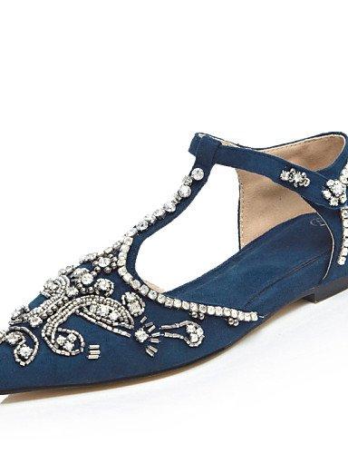 UWSZZ Die Sandalen elegante Comfort schuhe Donna-Sandali - Büro und Arbeit/formelle/Casual-Cinturino/D'Orsay/EIN TIPP - Piatto-Scamosciato - Schwarz/Blau/Rot Blue