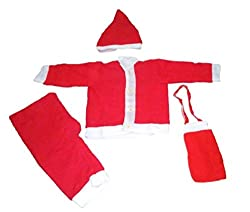 Krystle Kids Christmas Dress Santa Claus Dress/Costume (KRY-SANTABOYS-3-4YRS_Red & White_3-4 years)