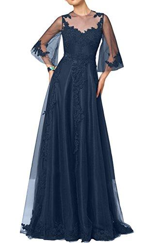 Gorgeous Bride Elegant Halb Ärmaln Brautmutterkleider Satin Tüll Spitze A-Linie Abendkleider Lang Cocktailkleider Ballkleider Dunkelblau