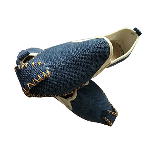 Meijunter Chaussures chinoises Slip-on Rubber Sole Canvas Pointed Flats Bateau chaussures Chaussons Bleu