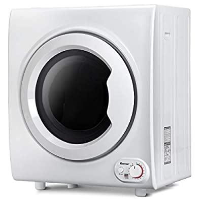 COSTWAY Electric Tumble Dryer, Freestanding Vented Dryers with Timer, Premium Stainless Steel, 3 Modes of Air dry, Cool & Heat Dry, Anti-Wrinkle function, Double filtration, 75L/4KG Capacity, White