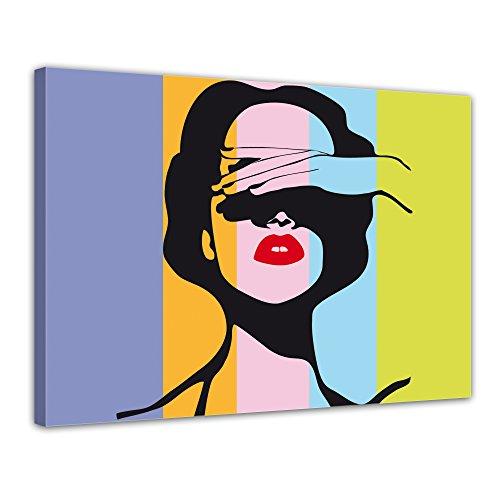 Bilderdepot24 Kunstdruck - Retro Frau Pop Art Stil - Bild auf Leinwand - 40x30 cm - Leinwandbilder - Bilder als Leinwanddruck - Wandbild Von Urban & Graphic - Andy Warhol - Kunst - Farbig - Bunt