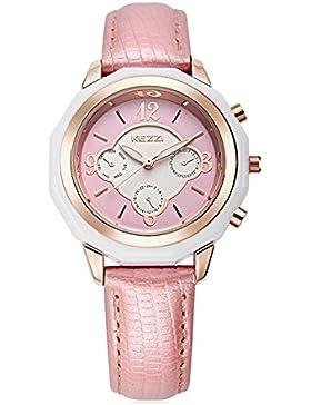 Mode Dekorative Zifferblätter Leder Uhrenarmband Quarz Damen Mädchen Armbanduhren, Rosa