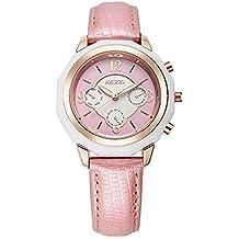 Moda Pequeño Dial Decorativo Correa de Cuero Cuarzo Relojes Mujer Relojes Para Niña Relojes Juveniles, Rosa