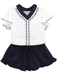 4cebafe3c Malloom Ropa niña Bebé Chicas Impresión Camiseta sin Mangas + Pantalones  Cortos + Cinturón Conjunto de Ropa Trajes Camiseta con Cuello…