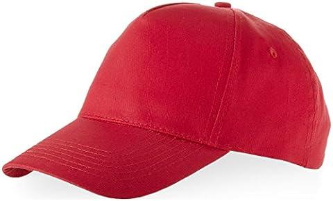 US BASIC 5 PANEL CHILDRENS BASEBALL CAP HAT - 13 COLOURS (RED)