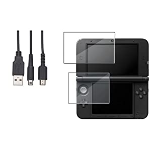 1m 3Ft USB Ladeger�t Kabel+Top & Boden Display Folie f�r Nintendo 3DS XL/LL